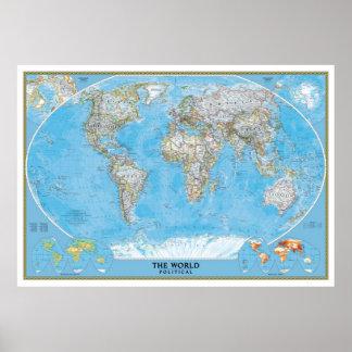Großer politischer Weltkarteplakatextradruck Poster