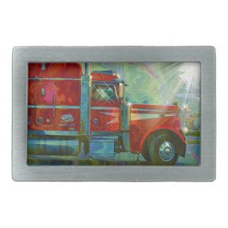 Großer roter schwerer LKW für Fernlastfahrer u. Rechteckige Gürtelschnalle