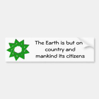 größerer grüner bahai Stern, die Erde ist aber ein Autoaufkleber