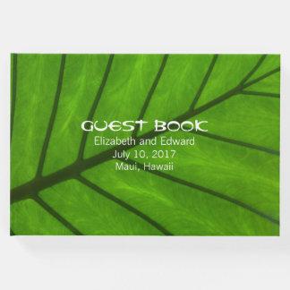Großes Blatt-tropisches Hochzeits-Gast-Buch Gäste Buch