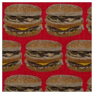 großes doppeltes Cheeseburgerrotgewebe Stoff