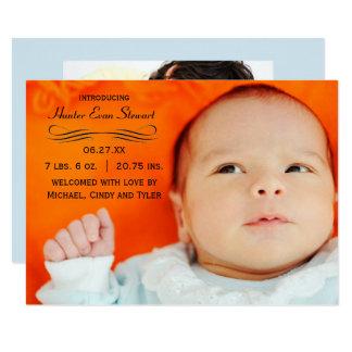 Großes Foto blühen - Mitteilung der Geburts-3x5 Karte