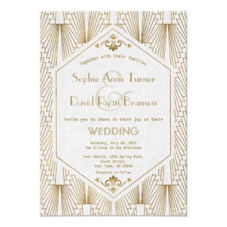 Großes Gatsby Kunst-Deko-Goldweiße Hochzeit laden Karte