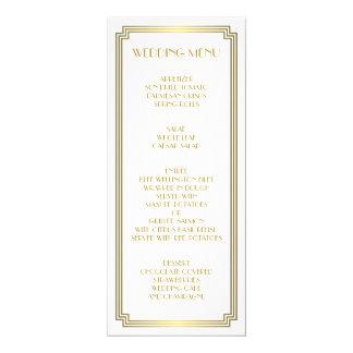Großes Gatsby Kunst-Deko-Goldweißes Hochzeits-Menü 10,2 X 23,5 Cm Einladungskarte