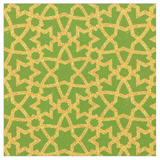 Großes Grün und Gold der Arabeske Stoff