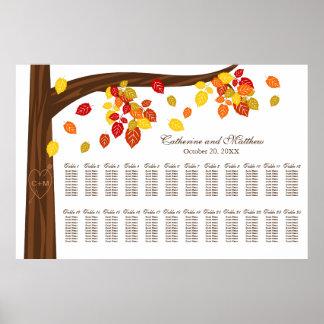 Großes Herbst-Hochzeits-Sitzplatz-Extradiagramm Poster