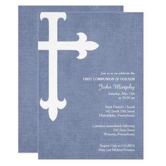 Großes Kreuz-erste Kommunions-Einladung, blau 12,7 X 17,8 Cm Einladungskarte