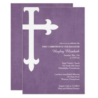 Großes Kreuz-erste Kommunions-Einladung, lila 12,7 X 17,8 Cm Einladungskarte