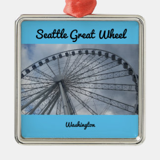 Großes Rad Puget Sound Washington Seattles Quadratisches Silberfarbenes Ornament