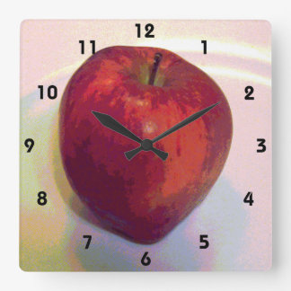 Großes rotes Apple Quadratische Wanduhr