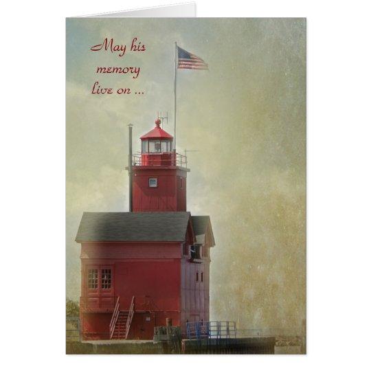Großes rotes Leuchtturm-Beileid Karte