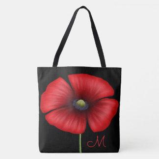 Großes rotes Mohnblumen-Monogramm auf Schwarzem Tasche