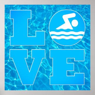 Großes Swim LIEBE Pool-Plakat für Schwimmer u. Poster
