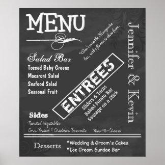 Großes Vintages Tafel-Blick-Hochzeits-Menü-Plakat Poster