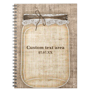 Großes Weckglas mit Leinwand u. Spitze rustikal Notizbuch