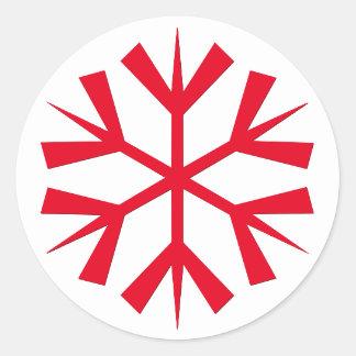 Großes Weihnachtsrote Schneeflocke scherzt Runder Aufkleber