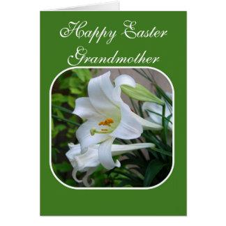 Großmutter, fröhliche Ostern, Segen, weiße Lilie Grußkarte