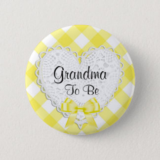 Großmutter, zum gelber Babyparty-Knopf zu sein Runder Button 5,1 Cm