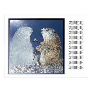 Groundhog Day-Eis-Skulptur Postkarte