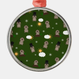 Groundhog Day-Muster Silbernes Ornament
