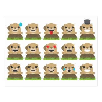 groundhog emojis postkarte