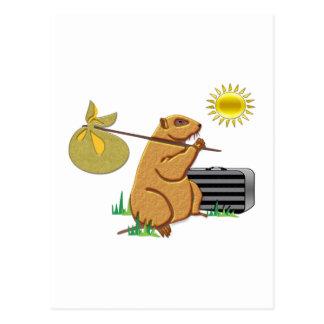 Groundhog läuft weg postkarte