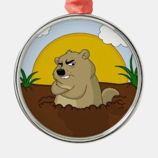 Groundhog Tag Silbernes Ornament