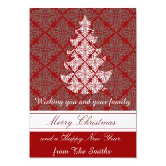 Groupon klassischer Damast-Weihnachtsbaum Karte