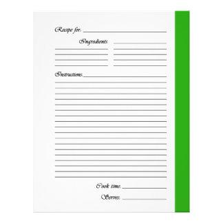 Grün 2 versah Rezept-Seiten mit Seiten