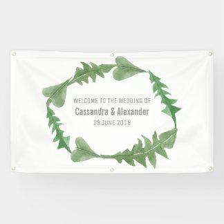 Grün-Aquarell-Laub-Hochzeit Banner