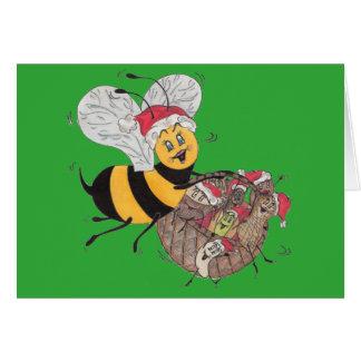 """Grün-""""Bienen-fröhliche"""" Weihnachtskarte Karte"""