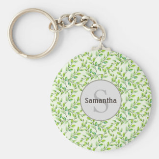 Grün-Blätter-und Niederlassungs-Monogramm Keychain Schlüsselanhänger