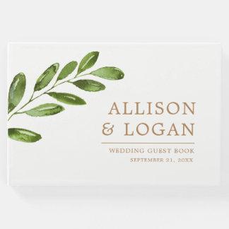 Grün-Blätter windt elegantes Hochzeits-Gast-Buch Gästebuch
