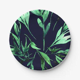 Grün-blauer Watercolor-botanisches bezauberndes Pappteller