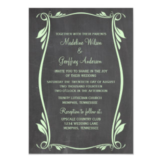 Grün blühen Tafel-Hochzeit einladen 12,7 X 17,8 Cm Einladungskarte