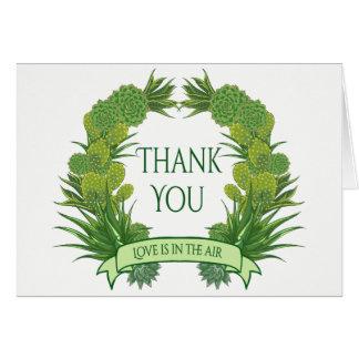 Grün danken Ihnen saftige Kaktus-Südwesthochzeit Karte
