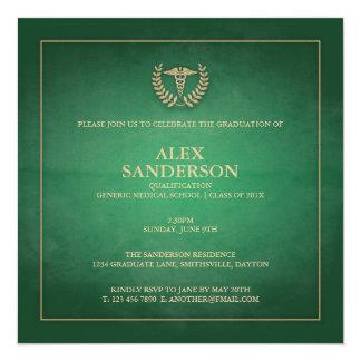 Grün der medizinische SchulAbschluss-Mitteilungs-  Quadratische 13,3 Cm Einladungskarte