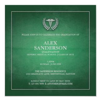 Grün der medizinische SchulAbschluss-Mitteilungs-| Quadratische 13,3 Cm Einladungskarte