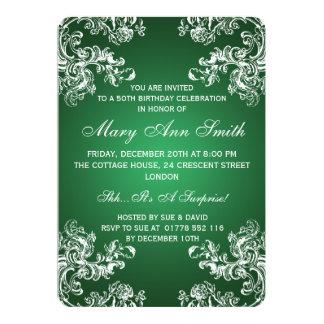 Grün elegantes 50. des Geburtstags-Party-Vintages 12,7 X 17,8 Cm Einladungskarte