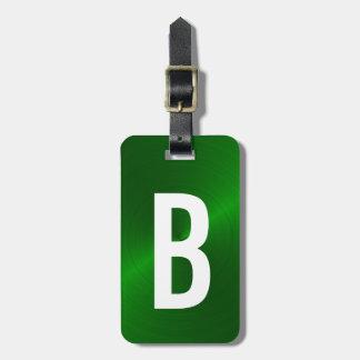 Grün gebürstete metallische Monogramm-Initiale Kofferanhänger