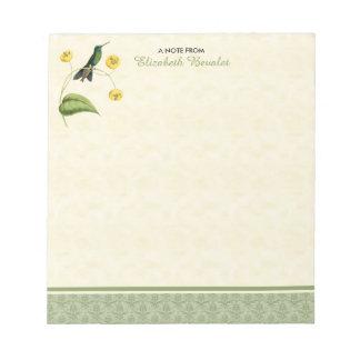 Grün gekrönter glänzender Kolibri Notizblock