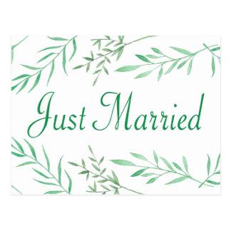 Grün-gerade verheiratete postkarte