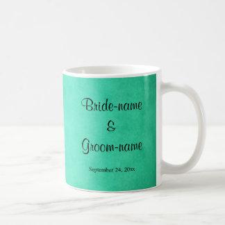 Grün gesprenkelte Muster-Hochzeit Tasse