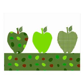 Grün gesteppte Äpfel Postkarte