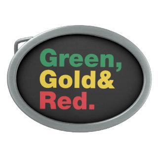 Grün, Gold u. Rot Ovale Gürtelschnallen