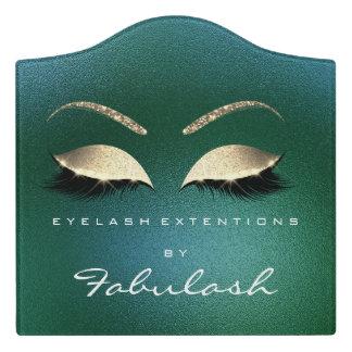Grün-GoldGlitzer-Schönheits-Salon peitscht Make-up Türschild