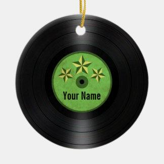 Grün hat personalisiertes Vinylrekordalbum in der Keramik Ornament