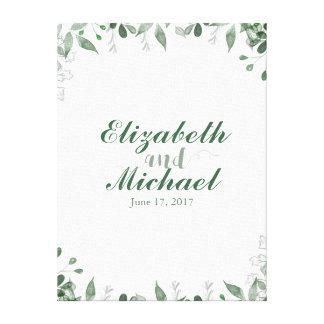 Grün-Hochzeitguestbook-Leinwand-Druck Galerie Falt Leinwand
