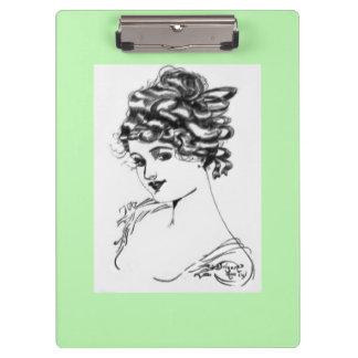Grün Kunst Nouveau Art-Porträt-Dame 1917 Klemmbrett