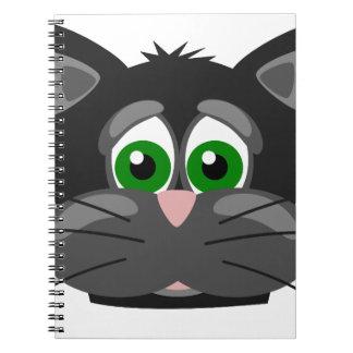 Grün-mit Augen schwarze Katze Notizblock